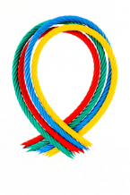 Playground plastic rope with steel core